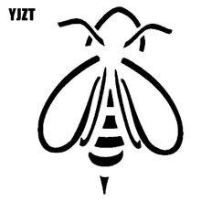 YJZT 15.1 CENTÍMETROS * 19.5 CENTÍMETROS Abelha Simples Decoração Do Carro Adesivos de Vinil Decalque Preto/Prata C19-0142