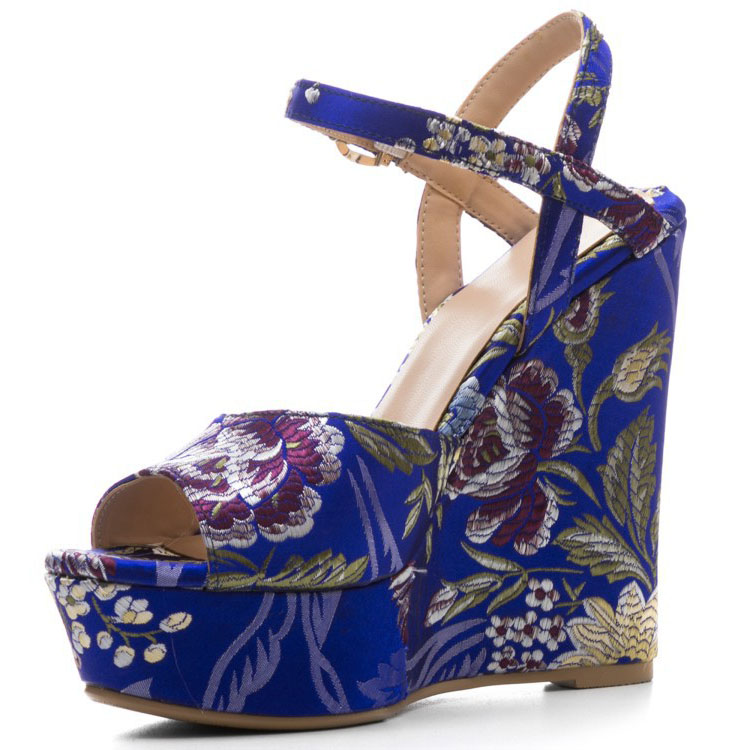 Women Platform Sandals High Heels Peep Toe Floral Printed Women Summer Shoes Gladiator Buckle Rome Women Wedge Sandals women peep toe sandals summer platform wedge invisible high heels boots rome style side zip casual shoes woman silver blue white