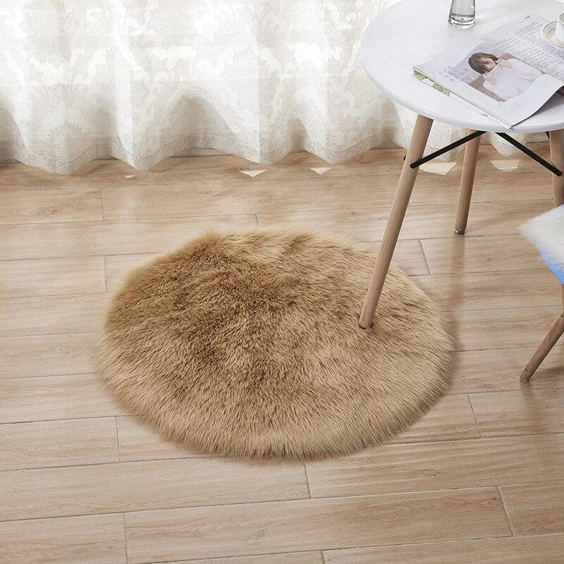 Black White Blue Cute Green Faux Fur Area Carpet Round