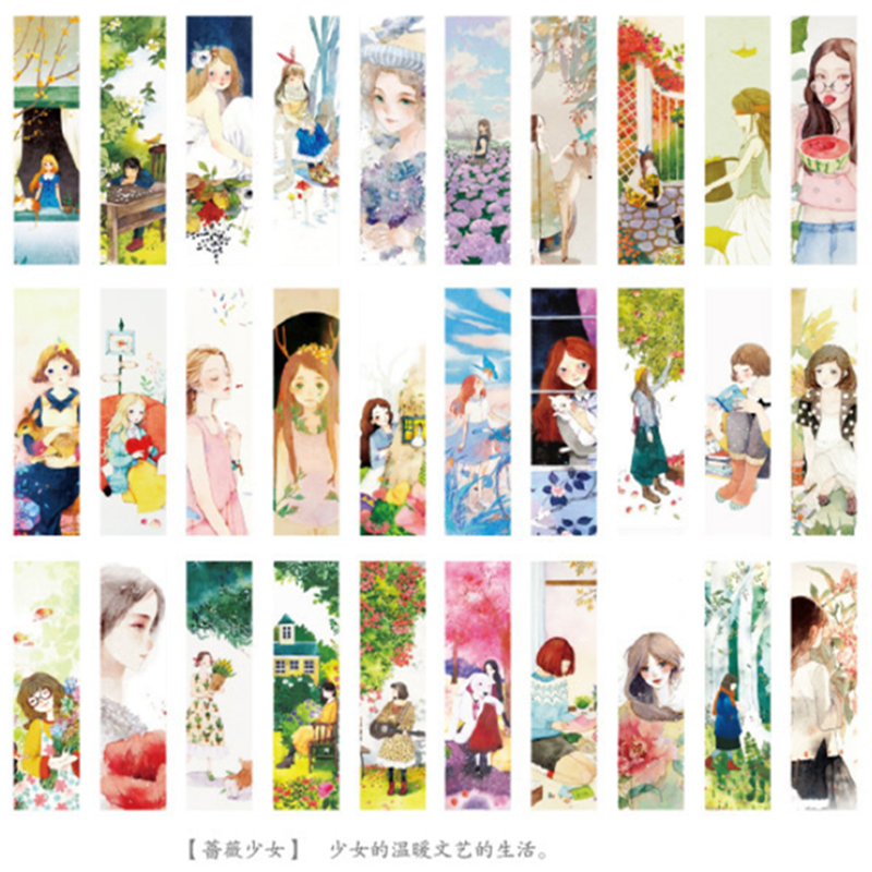 30pcs/set Flowers And Girl Paper Bookmarks Paper Page Notes Message Card School Supplies Stationery Kids Gift