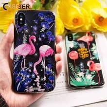 CASEIER Phone Case For iPhone X Glitter Diamond Soft Silicone Cases 6 6s 7 8 Plus Flamingo Rhinestone Funda Cover