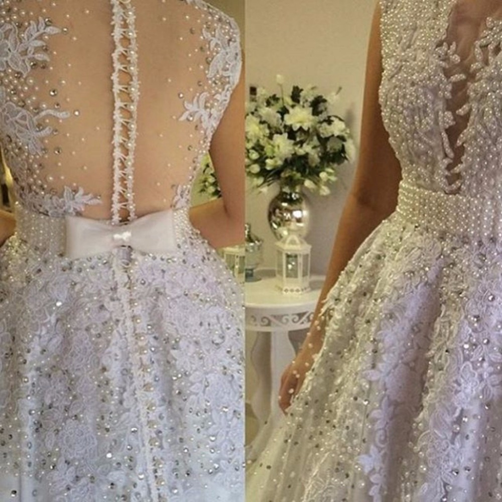 Buy 2015 new arrival luxury pearls for Lace wedding dress with pearls