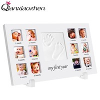 Qianxiaozhen 12 months Newborn DIY Handprint Footprint Photo Frame Baby Frame Nontoxic Fingerprints Inkpad Baby Shower Souvenir