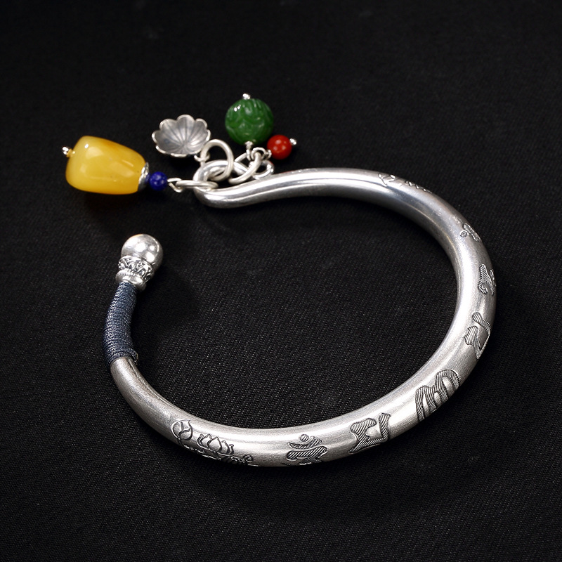 S999 Fine Silver Restoring Ancient Ways Is Six Words Ms Lotus Hetian Jade Jade Beeswax South Red Bracelet Wholesale s999 fine silver lotus pisces play lady bracelet wholesale sterling silver folk style ways openings