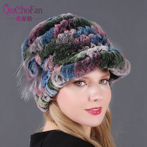 Image 1 - New Women Striped&Floral Real Natural Rex Rabbit Fur Hats 100% Genuine Rex Rabbit Fur Cap Lady Winter Warm Rex Rabbit Fur Caps