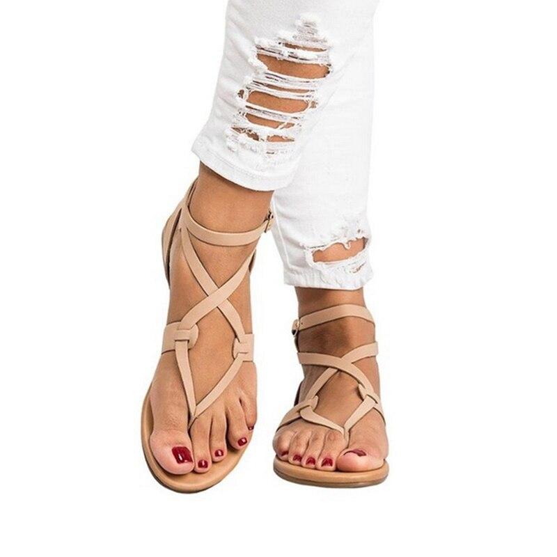 Frauen Sandalen Plus Größe 43 Gladiator Sandalen Für Frauen Sommer Schuhe Weibliche Strand Flache Sandalen Schuhe Frauen Rom Alias Mujer