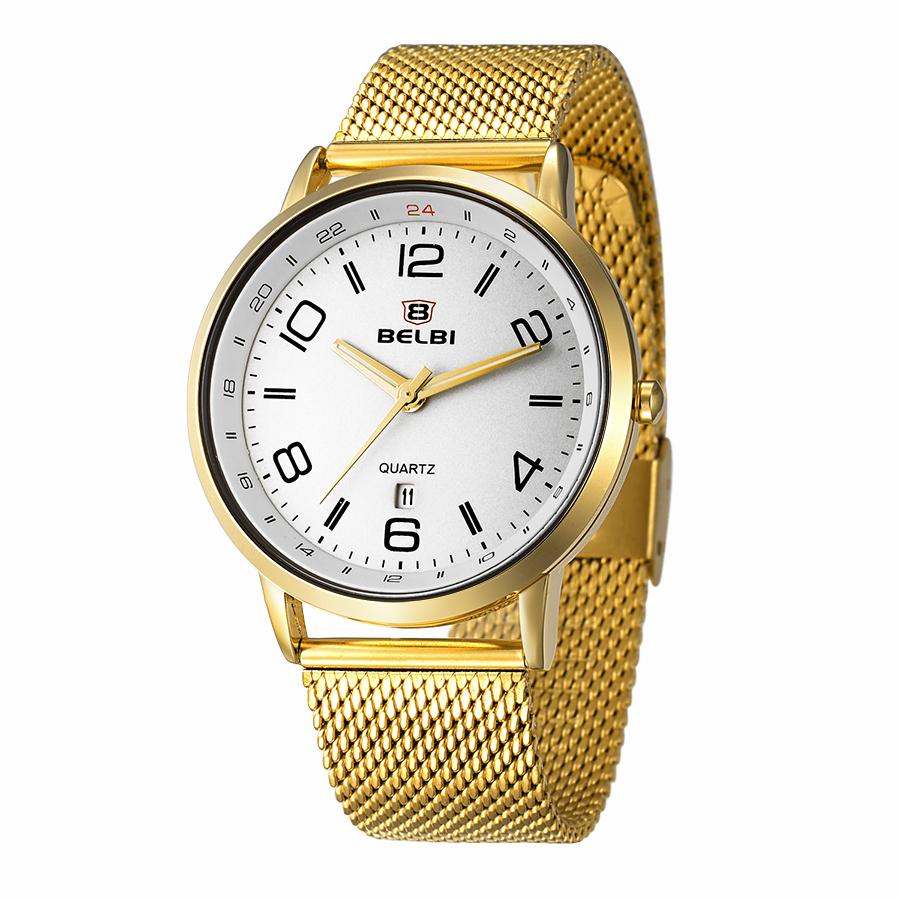 Prix pour BELBI Top Marque De Luxe Hommes Montre Étanche En Acier Inoxydable Quartz Montres De Mode D'affaires Calendrier Mâle Montre-Bracelet Or Horloge
