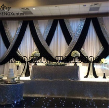 3m*6m Wholesale Price  White Wedding Backdrop Curtain With Black Color And Silver Sequin Fabric Drape Swag For Decoration