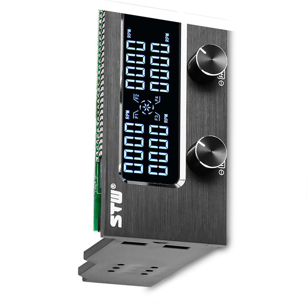 High Quality STW Pc 5.25 Inch Drive Bay Full Brushed Aluminum 4 Channel PWM Fan Controller With LCD Screen