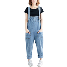 цена 2019 Women Girl Washed Jeans Pants Casual Loose Denim Overalls Pants Denim Rompers Jumpsuits For Ladies в интернет-магазинах