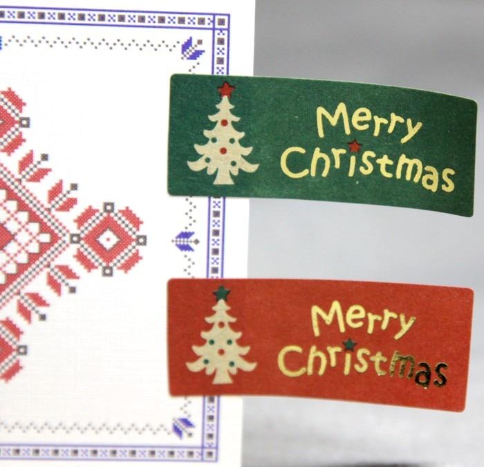 100Pcs Gold Christmas Tree Handmade Cake Packaging Sealing Label Kraft Sticker Baking DIY Work Gift Box Rectangle Stickers M1112