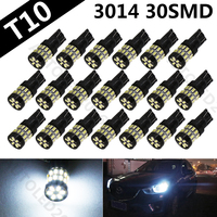 20pcs White T10 3014 SMD 30 LED Automobile Bulbs Auto Super Bright Lighting System LED Light