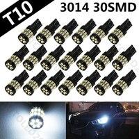 20pcs White T10 3014 SMD 30 LED Automobile Bulbs Auto Super Bright Lighting System LED Light
