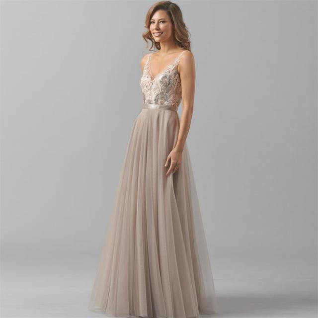 6219af0ee 2017 Newest Floor Length Tulle Khaki Bridesmaid Dress Sequined Lace V-Neck  Satin Belt Backless Party Dresses For Wedding BN26