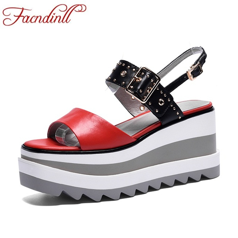 FACNDINLL new women sandals high qulaity wedges shoes 2018 summer open toe sandals genuine leather casual date platform sandals facndinll new women summer sandals 2018 ladies summer wedges high heel fashion casual leather sandals platform date party shoes