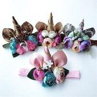 1 pc אופנה Hairbands גליטר פרחוני בנות Unicorn רך מוצק חמוד Kawaii בעלי החיים מסיבת אביזרי שיער בנות סרטי ראש Headware