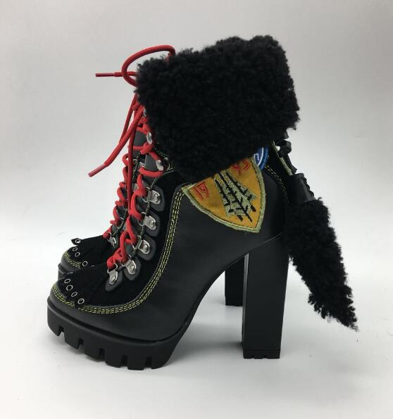 new fashion chunky high heel woman fur inside ankle boots national style lace up fur winter chunky heel women boots real photos lace up ribbed chunky sweater
