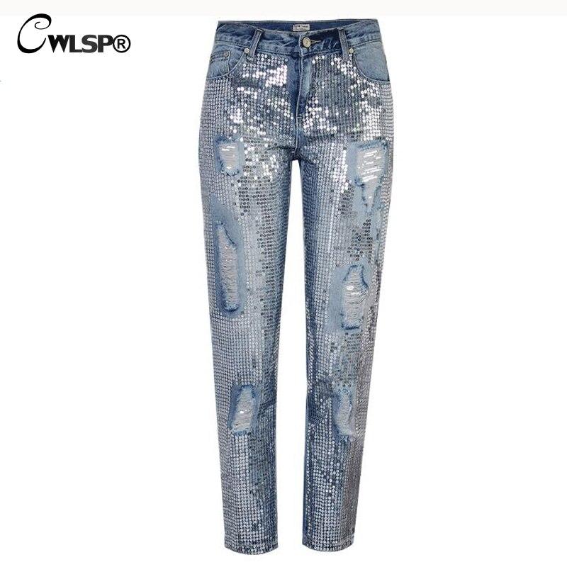 CWLSP Plus size Bling Sequin Low Waist Jeans for women Denim overalls Straight Pants boyfriend Trousers for feminino QL3541