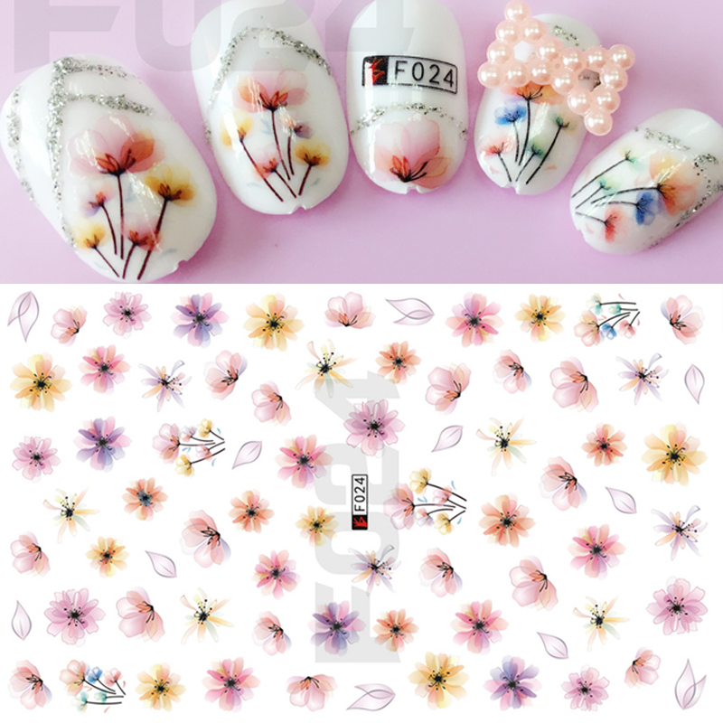 1 Sheets Elegant Women Designs 3D Nail Art Tips Colorful Transparent Blossom Decals DIY Manicure Nail Art Sticker CHF024