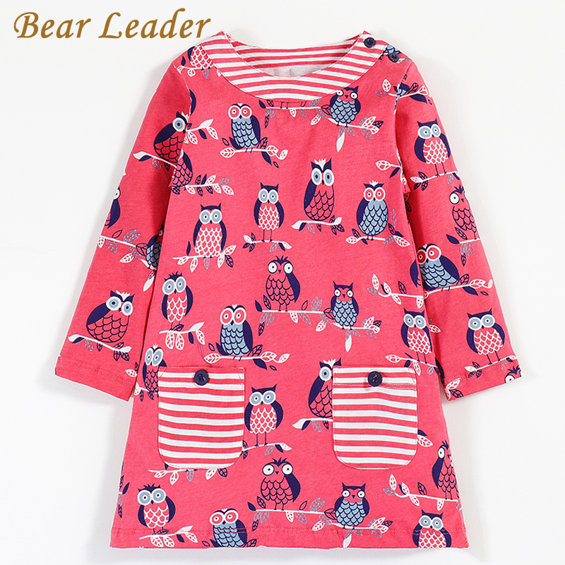 Bear Leader Girls Dress 2017Brand Autumn Girls Clothes European and American Style Owl Printing Striped Pocket Design Kids Dress 100% real photo brand kids red heart sleeve dress american and european style hollow girls clothes baby girl clothes