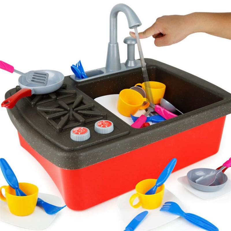MrY Wash up Kitchen Dish Cleaning Kit Sink Splash Sink Stove Pretend Play Toy Educational Puzzle Toys Set for Children