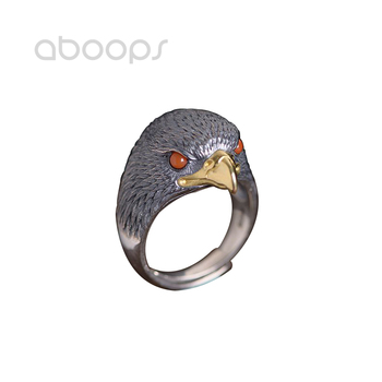 Two Tone 925 Sterling Silver Eagle Ring with Red Eyes for Men Women Adjustable Size 8-11 Free Shipping