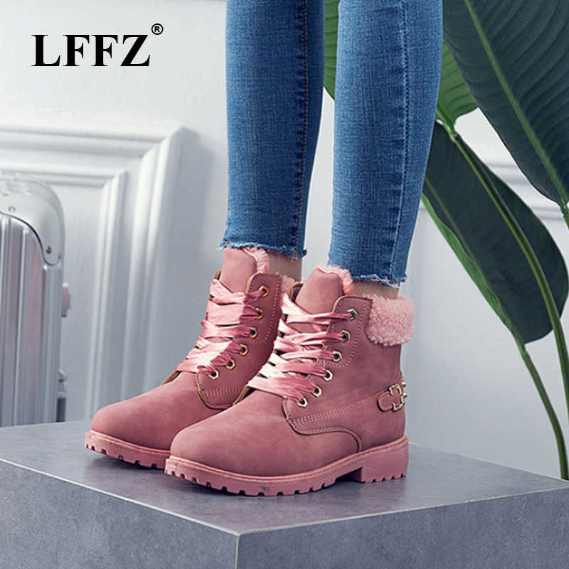 LFFZ New Pink Women Boots Lace up Solid Casual Ankle Boots  Round Toe Women Shoes Winter Snow Boots British Style PP47
