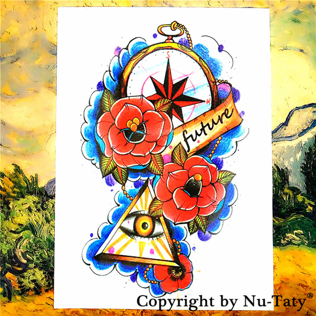 Shnapign Illuminati Avenir Oeil Tatouage Temporaire Corps Art Flash