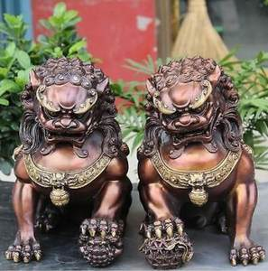 high 28cm Chinese Bronze Gilt Guardian Foo Fu Dog Hold Ball Door Lion Kid Statue Pair