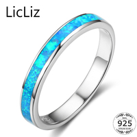 LicLiz 925 Sterling Silver Wedding Band For Women Plain Blue Solitaire Opal Ring Engagement Ring Gemstone