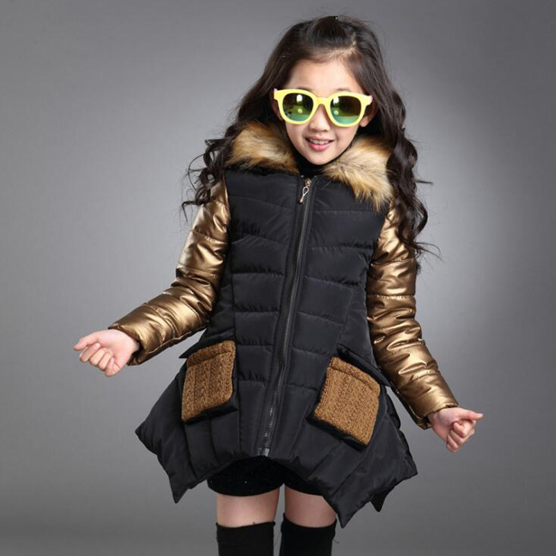 Cute New Girls Winter Coat Thicker Warmer Down Jacket For Girl Irregular Lower Hem Faux Fur Hooded Kids Winter Jacket Parkas D30