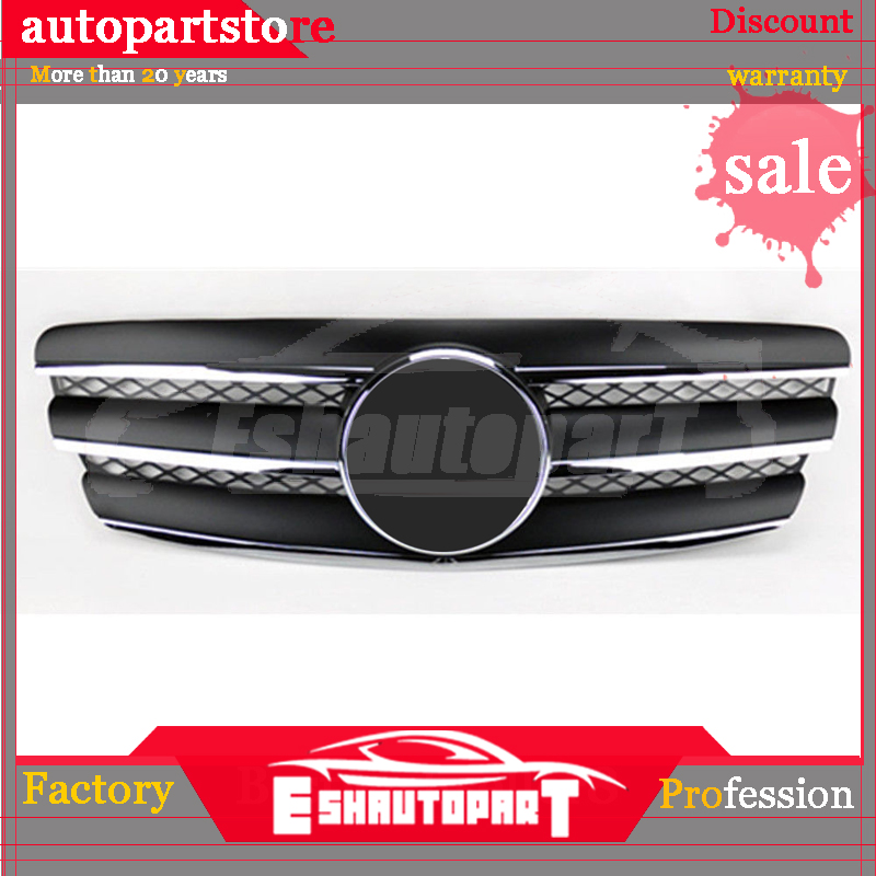 3 Fin Front Hood Sport Black Chrome <font><b>Grill</b></font> Grille for <font><b>Mercedes</b></font> E Class <font><b>W211</b></font> 03-06 image