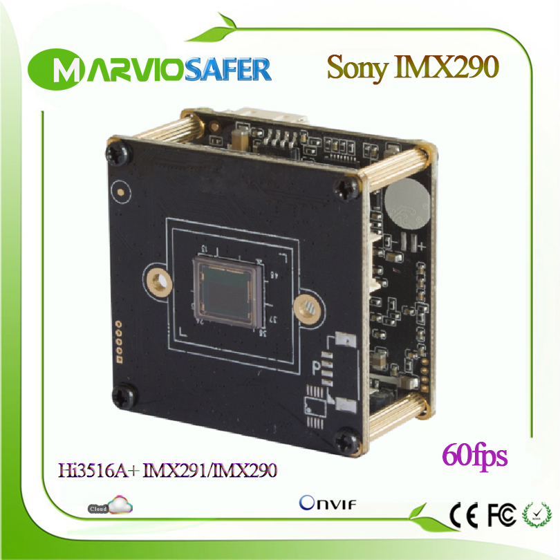 Hi3516A + Sony IMX291 60fps Frame Rate Starlight Caméra IP Module CCTV POE Vidéo Surveillace Conseil H.265 H.264 MJPEG Onvif