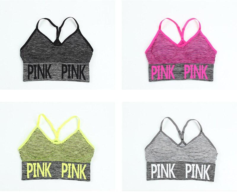 7fb9ff726167e 2019 Toppick Pink Letter Yoga Bra Fashion Striped Push Up Sports Bra ...