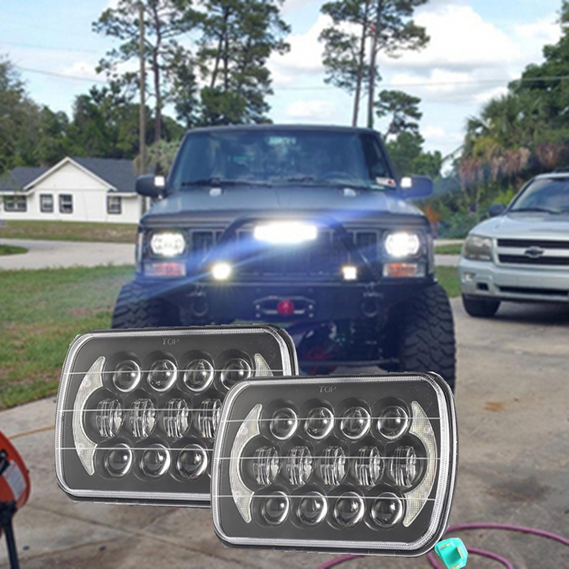 Pair square 5''x 7'' Inch Daymaker led headlight High Low Beam Headlamp for jeep Wrangler YJ Cherokee XJ Trucks 4X4 Offroad 5 x 7 6x7inch rectangular led headlights for jeep wrangler yj cherokee xj trucks 4x4 offroad headlamp replacement h6054 h5054