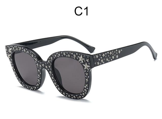 Vintage Square Rhinestone Sunglasses Women Luxury Cat Eye Pink shades sunglasses 2018 Oversized Gradient Black Eyeglasses UV400