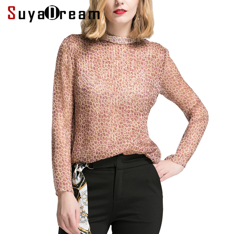 Women Long sleeve SHIRT 100 Real silk Leopard Print Transparent casual Top Stand collar 2019 Spring