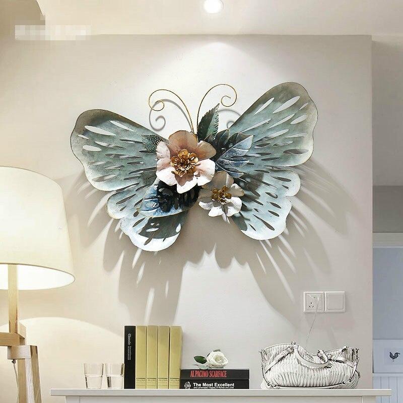 Простые украшения для стен ресторана Европейский Стиль 3D стерео кованого железа бабочка настенное крепление креативное украшение дома R1270