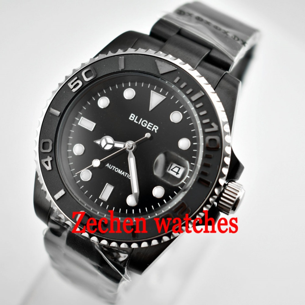 40mm Bliger mens watch Sapphire Automatic Mechanical Luminous hands WristWatch цена и фото