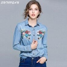 Купить с кэшбэком SUTOPEAN 2018 Women Denim Shirts Embroided Long Sleeve Womens Tops Blouses&Shirts Chemise en denim Camisa de mezclilla Clothes