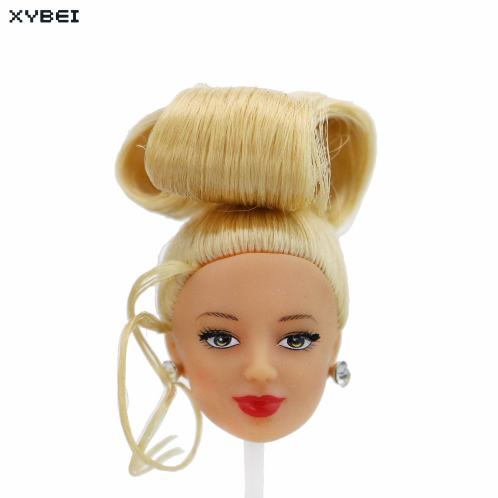 2 Pcs/Lot = 1x Blonde Updo Hair Red Lips Long Eyelash Doll Head + 1x Fashion Random Earr ...