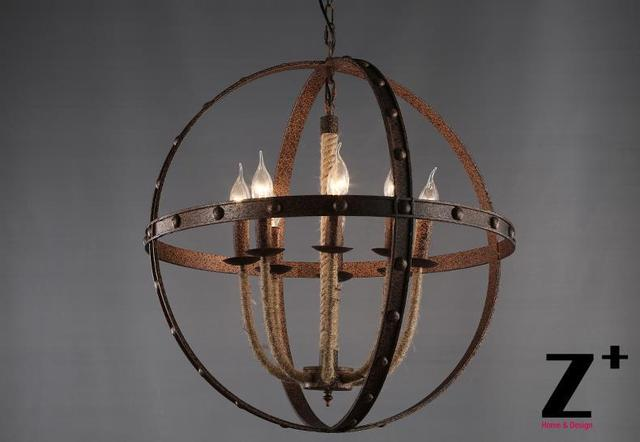America style industry country chandelier rust iron globe sphere america style industry country chandelier rust iron globe sphere candelabra linen flax rope free shipping mozeypictures Gallery
