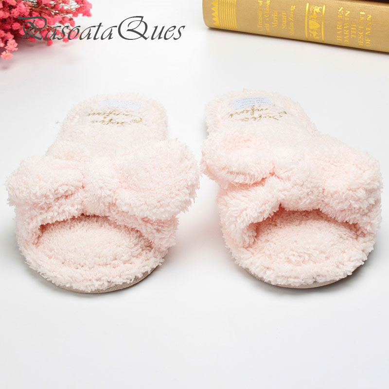 Flock Bow Slippers Home Spring Summer Sides Indoor Breathable House Women Shoes Asspfct050 Pasoataques Brand new spring cute women slippers breathable comfortable soft house indoor home women shoes pasoataques brand