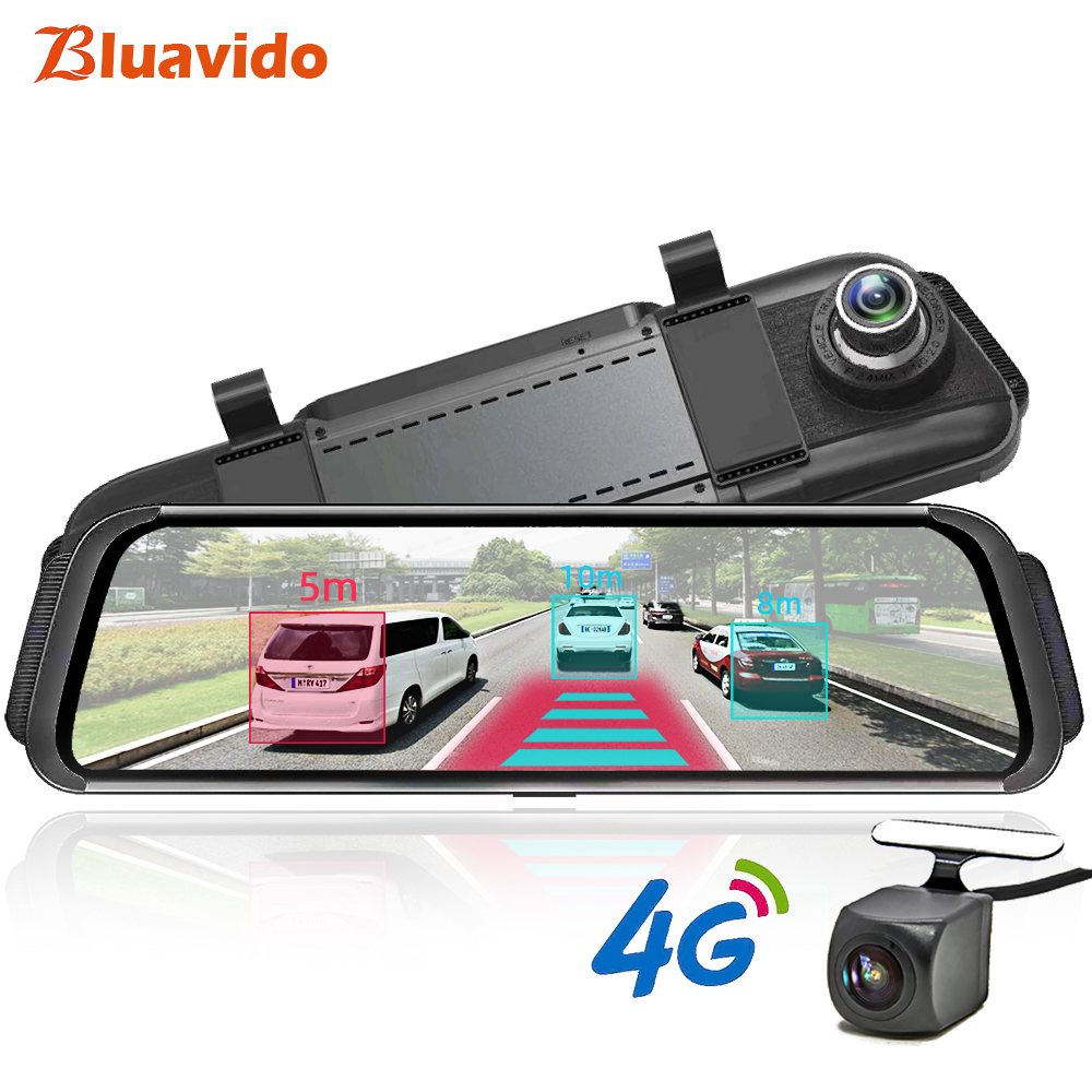 Bluavido 4G ADAS Car DVR Camera GPS Android 10 Stream Media Rear View Mirror FHD 1080P
