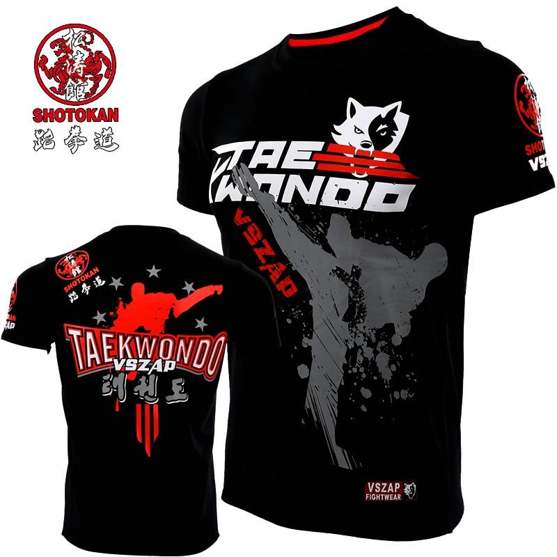 VSZAP Short Sleeve Jersey Muay Thai Shorts Gym T Shirt Martial Mma Boxeo Boxing