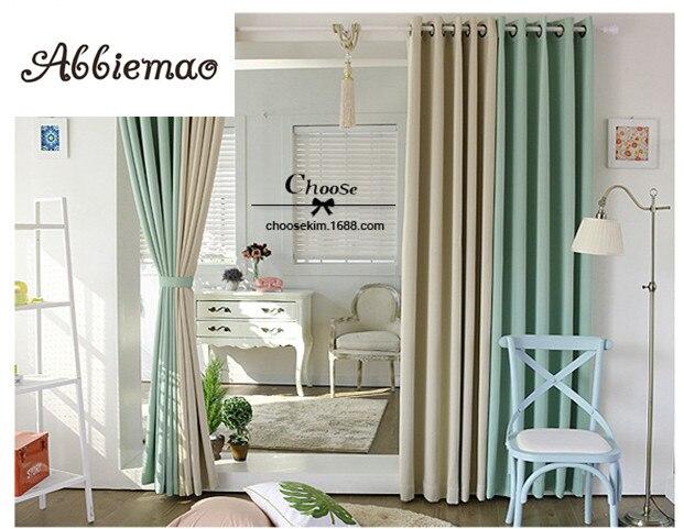 khaki bedroom curtains Abbiemao Korean Green khaki Solid Color Splice Curtain Cloth For Living Room Bedroom Window