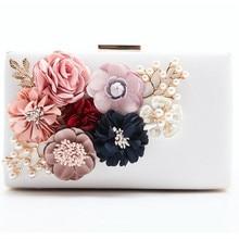 2017 Luxury Handmade Pearl Flower Evening Bag Women Fashion Day Clutch Weeding Party Bridal Small Handbag Purse With Chain Bolso