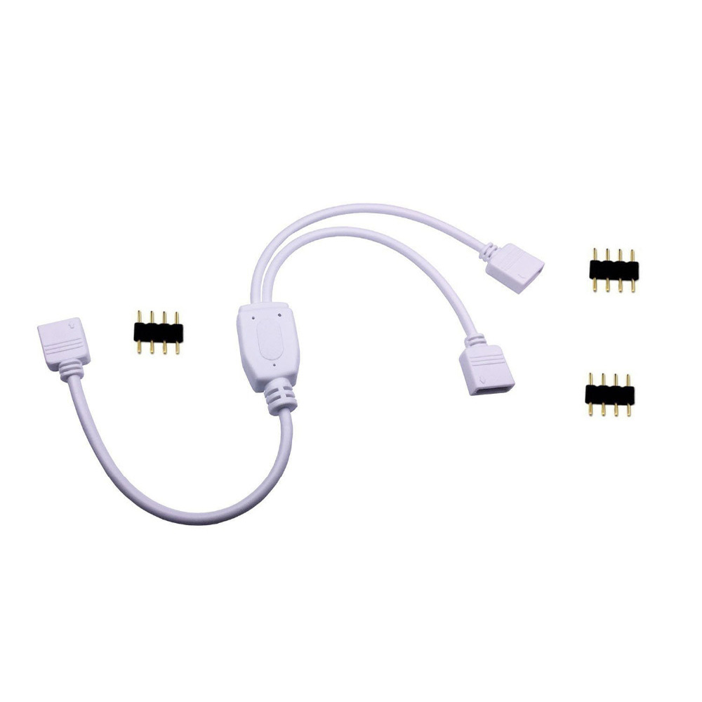 4 Pins RGB LED tape Connector 1 to 1 2 3 4 5 plug power Splitter Cable 4pin needle female Connector wire for RGB Led Strip Light in Connectors from Lights Lighting