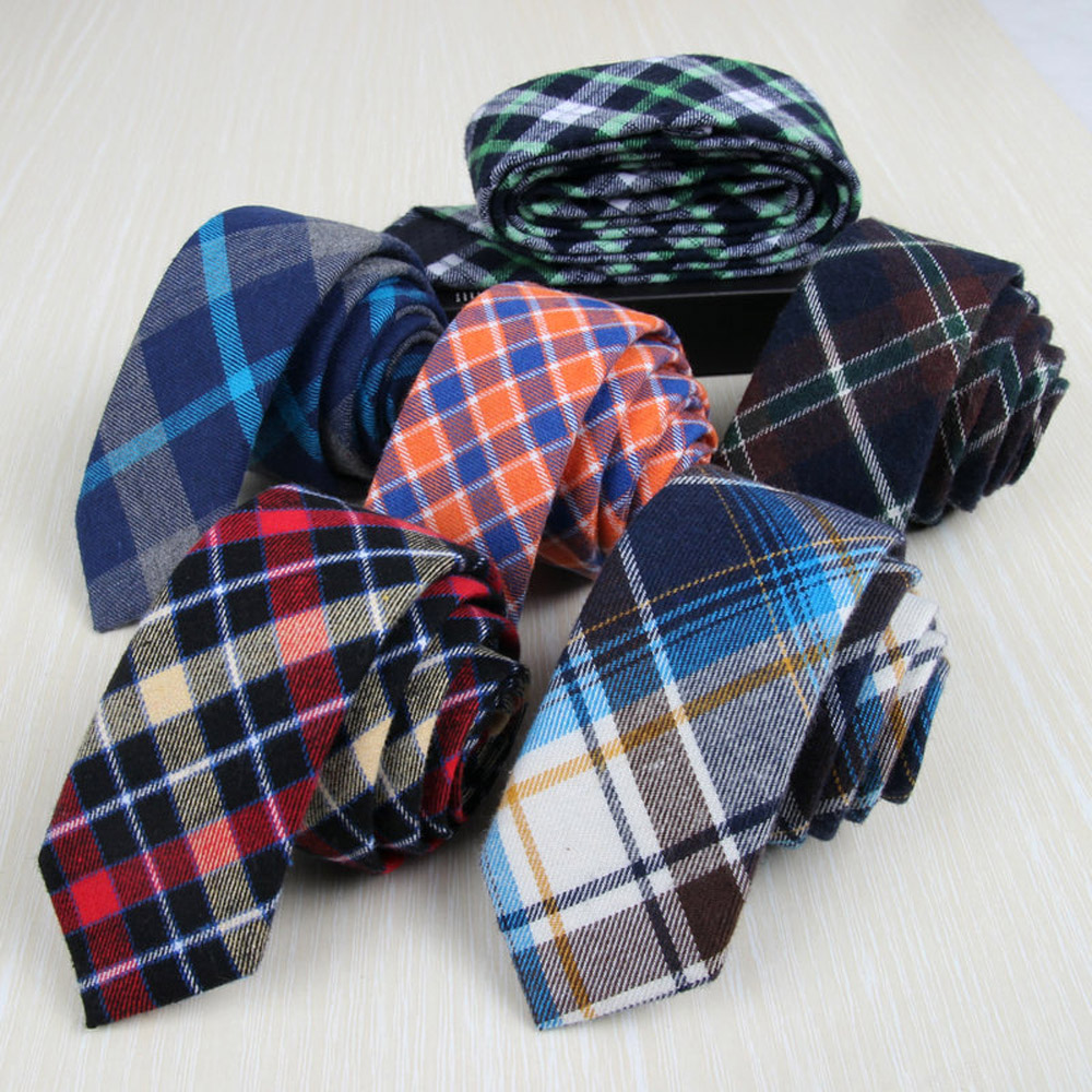 Men Formal Plaid Grids Skinny Neckties font b Tartan b font Checks 5cm Cotton Ties TSBWT0024