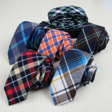 Men Formal Plaid Grids Skinny Neckties Tartan Checks 5cm Cotton Ties TSBWT0024